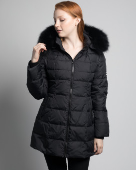 Cora Black Down Filled Coat with Fox Fur Hood Trim