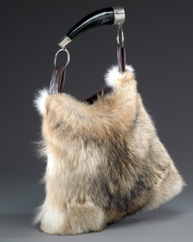 Dominique Coyote Fur Purse with Horn Handle