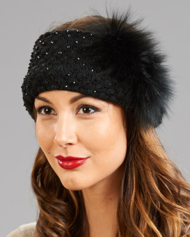 Black Fashion Bead Headband with Fox Fur Accent