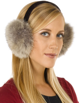 Coyote Fur Earmuffs with Velvet Band