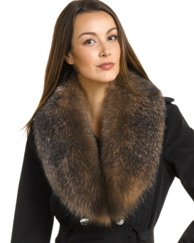 Emma Large Detachable Crystal Fox Fur Collar