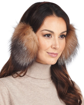 Fox Fur Earmuffs with Velvet band in Crystal
