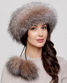 Crystal Fox Fur Headband with Pom Poms