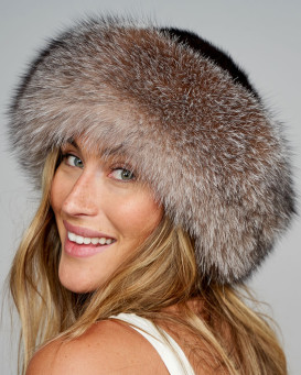 Raylene Crystal Fox Fur Roller Hat with Mink Top