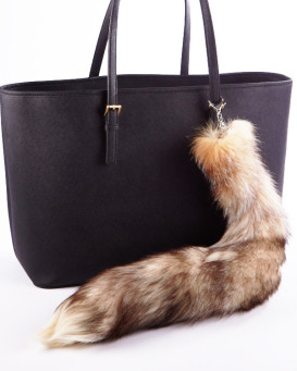 Crystal Fox Tail Fur Bag Charm