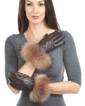 Crystal Fox Fur Trim Wool Lined Leather Gloves