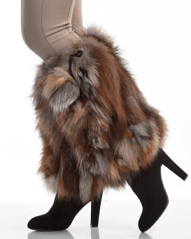 Crystal Fox Fur Leg Warmers with Pom Poms