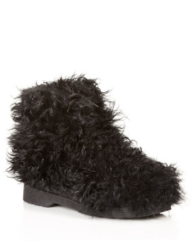 Curly Lamb's Wool Booties in Black