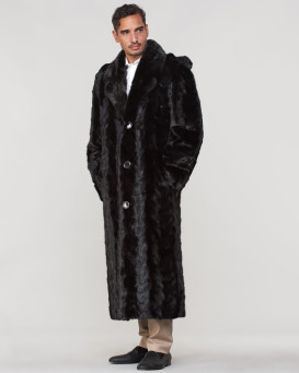 Dean Mink Full Length Fur Men's Overcoat in Black