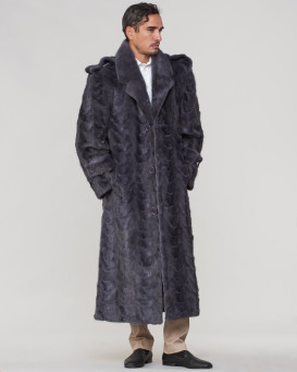 Dean Mink Full Length Fur Men's Overcoat in Grey