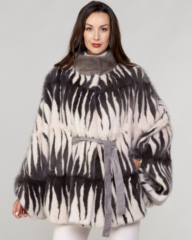 Delilah Long Hair Mink Fur Poncho in Multi Color Pattern