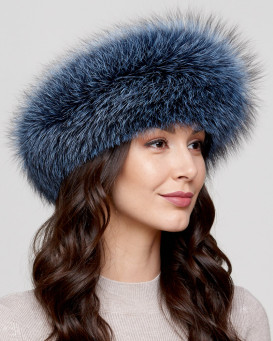 Denim Fox Fur Headband