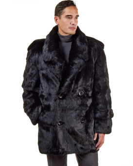 Derek Black Rabbit Fur Pea Coat For Men