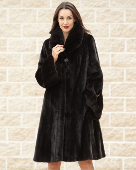 Dianna Long Hair Mink Fur Coat in Black
