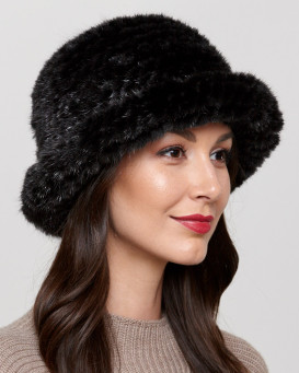 Donatella Knit Mink Bowler Hat in Black