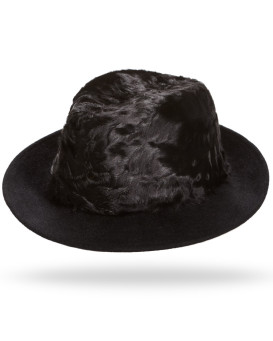 Drake Lamb's Fur Fedora Hat in Black for Men