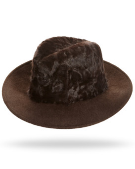 Drake Lamb's Fur Fedora Hat in Brown