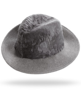 Drake Lamb's Fur Fedora Hat in Grey