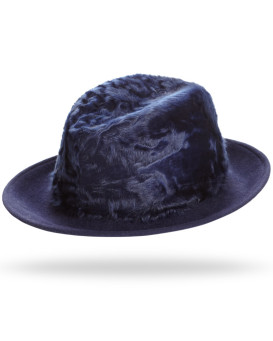 Drake Lamb's Fur Fedora Hat in Navy