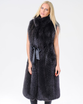 Eden Charcoal Fox Fur Duster Vest