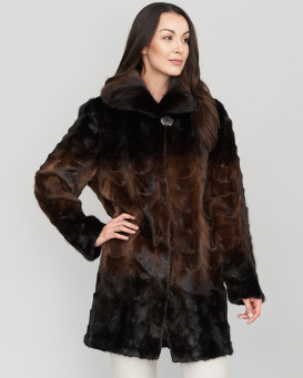 Eleanor Sculptured Mink Fur Coat in Brown