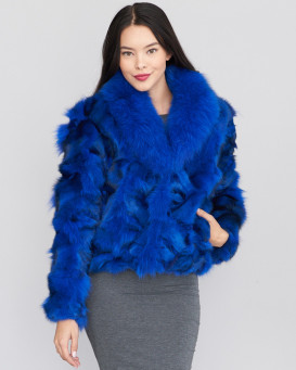 Veste de Fourrure de Renard Bleu Royal Erie