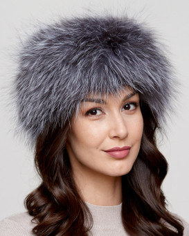 Eliana Silver Knit Fox Fur Head Band