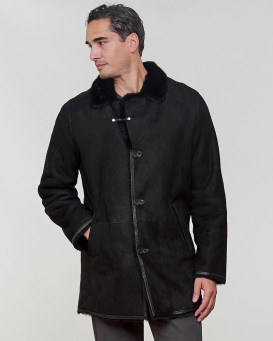 Elijah Shearling Sheepskin Jacket with Mink Fur Trim in Black
