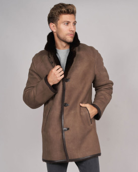 Elijah Shearling Sheepskin Jacket with Mink Fur Trim in Brown