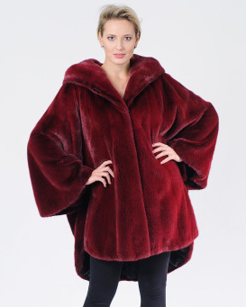 Ember Burgundy Mink Cape With Hood