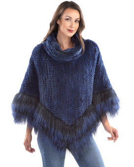 Ember Knit Rex Rabbit Fur Cape with Cowl Collar and Tibetan Trim