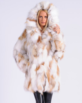 Esme Multicolor Fox Fur Coat with Hood