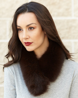 Espresso Brown Fox Fur Collar