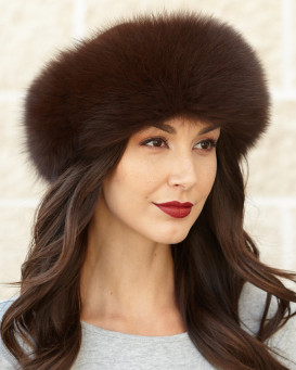 Espresso Brown Fox-Pelz-Stirnband