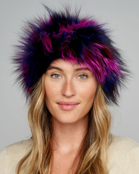 Etta Fox Fur Headband in Magenta