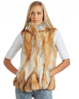 Eugenie Sectioned Red Fox Fur Vest
