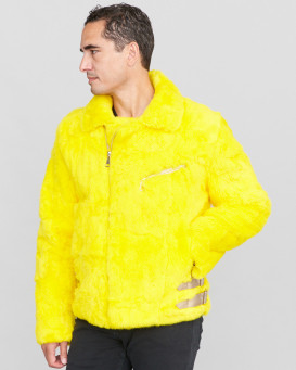 Evan Rabbit Fur Biker Jacket in Yellow
