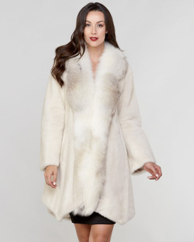 Nikki Mink Fur Coat with Silver Fox Tuxedo Collar in Ivory