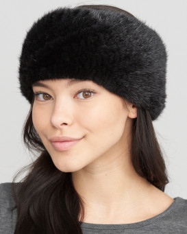 Extra Wide Knit Mink Fur Headband in Black