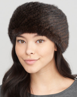 Extra Wide Knit Mink Fur Headband in Brown