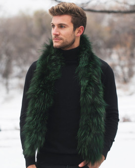 Austin Knit Finn Raccoon Fur Scarf For Men in Emerald