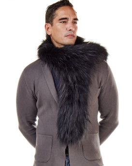 Austin Knit Finn Raccoon Fur Scarf For Men in Black