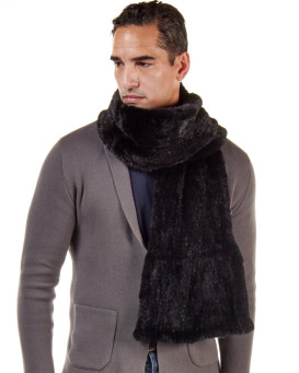 Calvin Knit Mink Fur Scarf For Men in Black