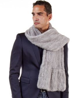 Calvin Mink Fur Knit Scarf For Men in Grey