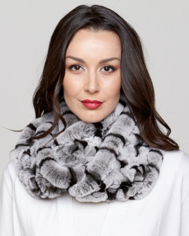 Fara Rex Rabbit Fur Infinity Scarf in Black Frost