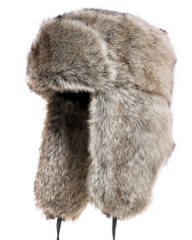 Grey Faux Fur Russian Ushanka Hat for Men