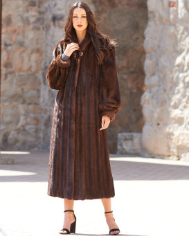 Elaine Classic Full Length Mink Coat in Mahogany