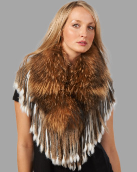 Finn Raccoon Collar with Rabbit Fur Tassels - Brown