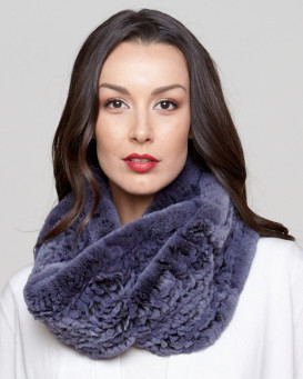 Fleur Rex Rabbit Fur Infinity Scarf in Blue Galaxy
