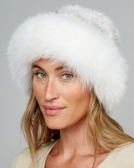 Hampton Mink Top Bowler Hat with White Fox Trim